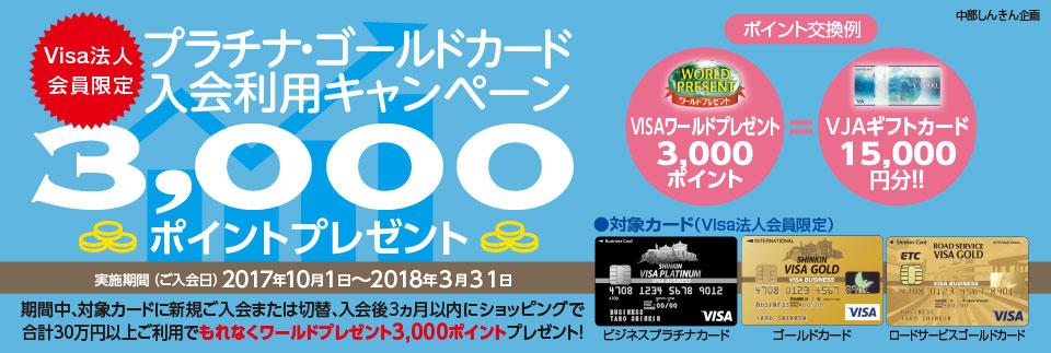 【Visa法人会員限定】プラチナ・ゴールドカード入会利用キャンペーン
